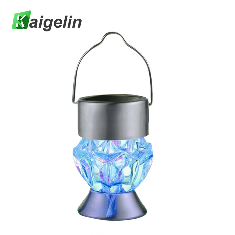 Portable Solar Led Lawn Lamp Diamond Shaped Garden Light 7 Colors Hanging Lantern For Outdoor Decoration Lighting