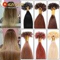 16''-24''100 filamentos de Queratina Pegamento Extensión Brasileña Del Pelo de Cabello Humano de Color Productos Unice Pelo de Color Rubio De la Mujer Blanca