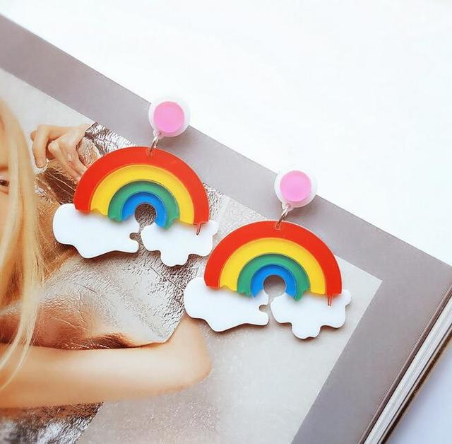 European Fashion Personality Night Club Earrings Accessories Acrylic Rainbow Female Jewelry For Party