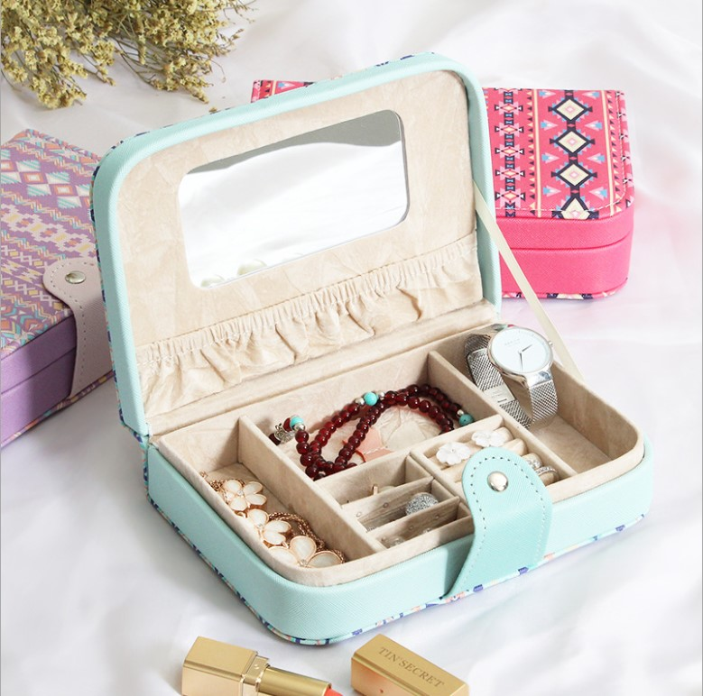 82princess portable storage box for jewelry necklace ring earrings birthday holiday girls gift wedding gifts travel jewelry box
