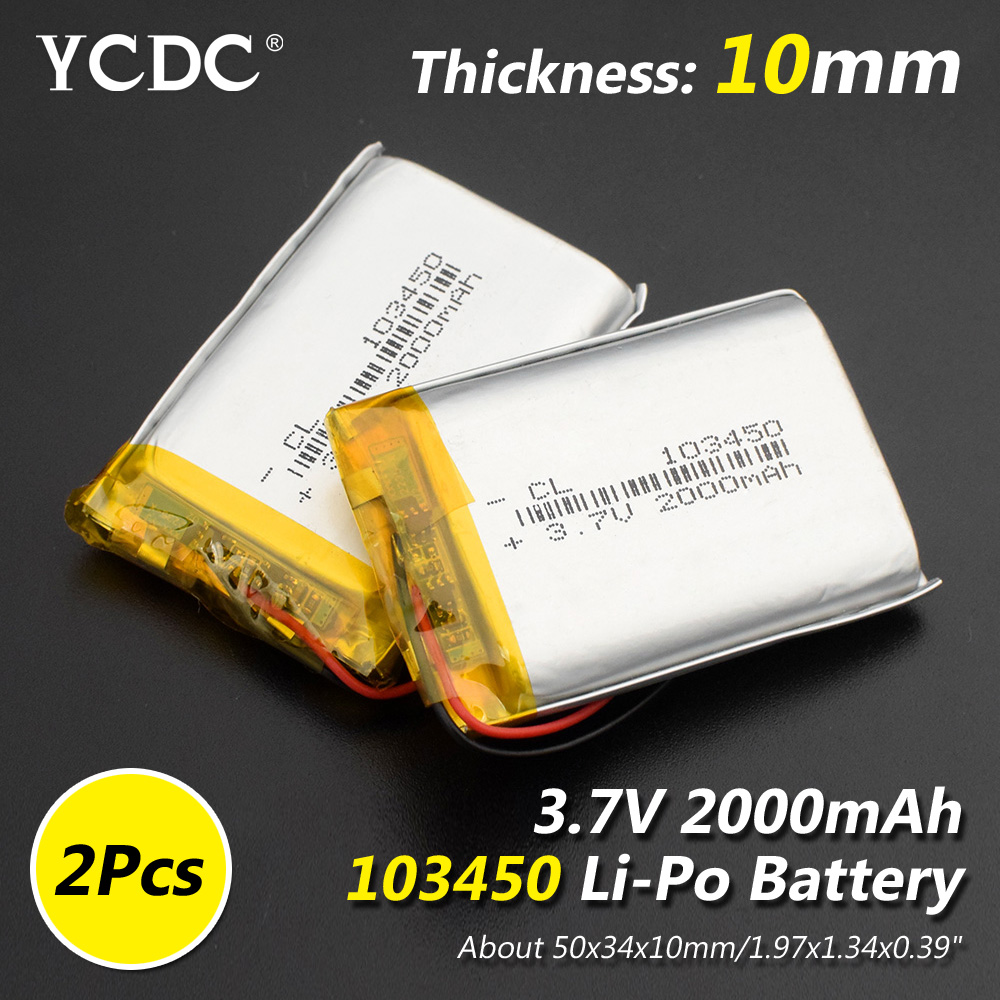 Size 103450 3.7v 2000mAh Li-ion Lipo Cells Lithium Li-Po Polymer Rechargeable Battery For Interphone POS GPS Bluetooth Speaker
