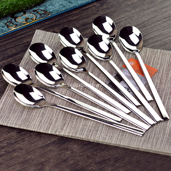 2 pcs Korean 304 Stainless Steel Dinner Spoon Kitchen Fork Restaurant Serving Spoon Long Handle Soup Scoop