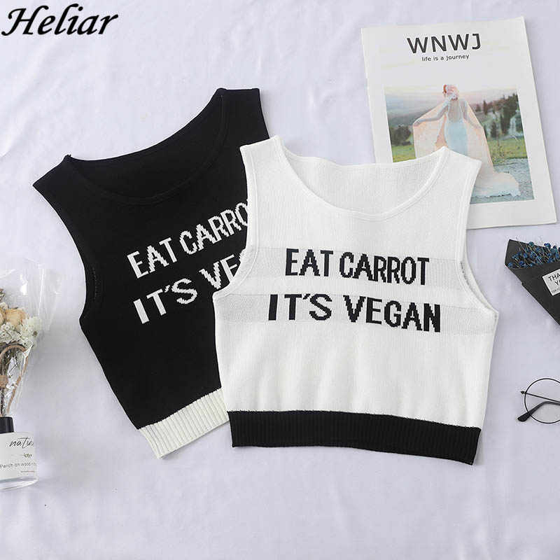 HELIAR 2019 Summer Lady Tank Tops Girlish Tops Female Crop Tops EAT CARROT IT'S VEGAN Letter Print Camisoul Women Knitting Vest
