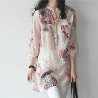 New 2016 Summer Women Flower Print Dress Shirt Cotton Linen Long Dresses Big Size Female Tunics