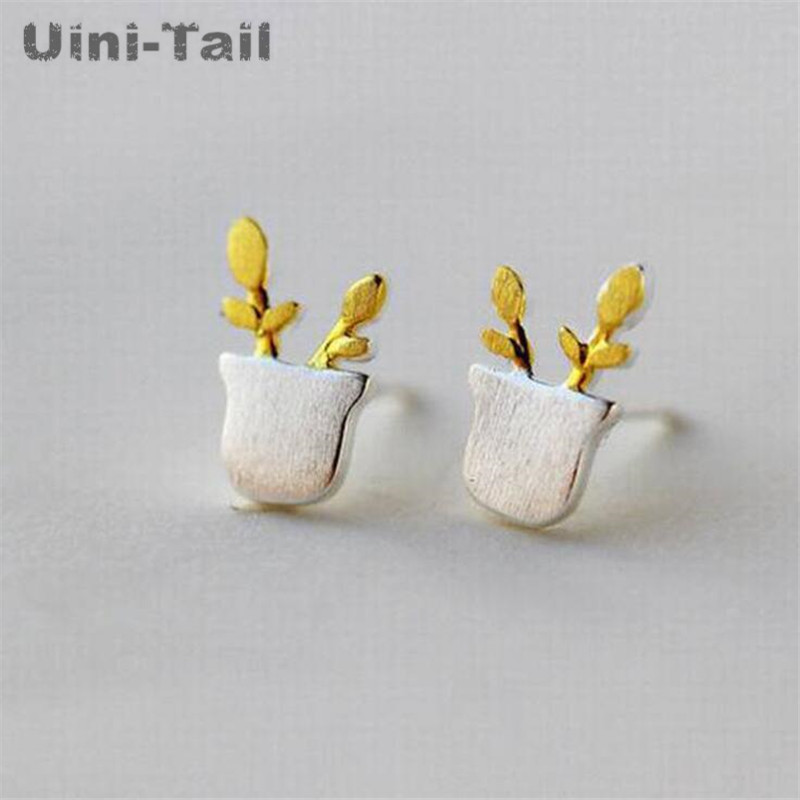 Uini-Tail new listing 925 sterling silver cute small potted earrings fashion tide flow high quality jewelry hypoallergenic hot
