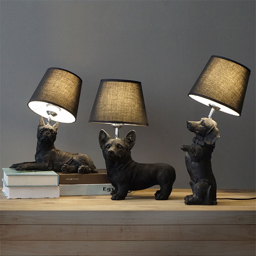 Trendy Unique Creative Dog Table Bedside Lamp Study Artistic Table Lamps  Childrenus Room Decorative With Unique Table Lamps.