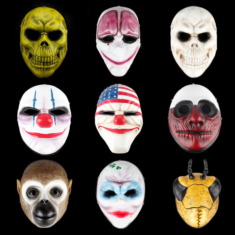Free Shipping Resin Payday 2 Mask Dallas Hoxton Chains Wolf Clown Robber Vespula V Vendetta Cosplay Masks Costume Replica Props