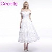 Vintage Lace Tea Length Short Wedding Dresses A Line Off The Shoulder Sashes Women Informal 50s
