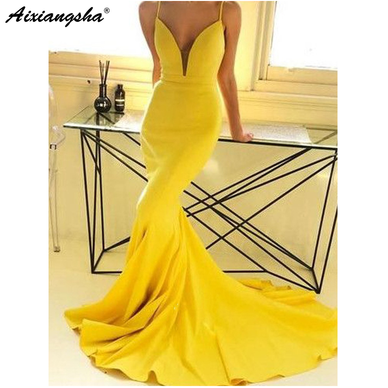 Simple Yellow 2018   Prom     Dresses   Mermaid Spaghetti Straps V-Neck Backless Party Maxys Long   Prom   Gown Cheap Evening Party   Dresses