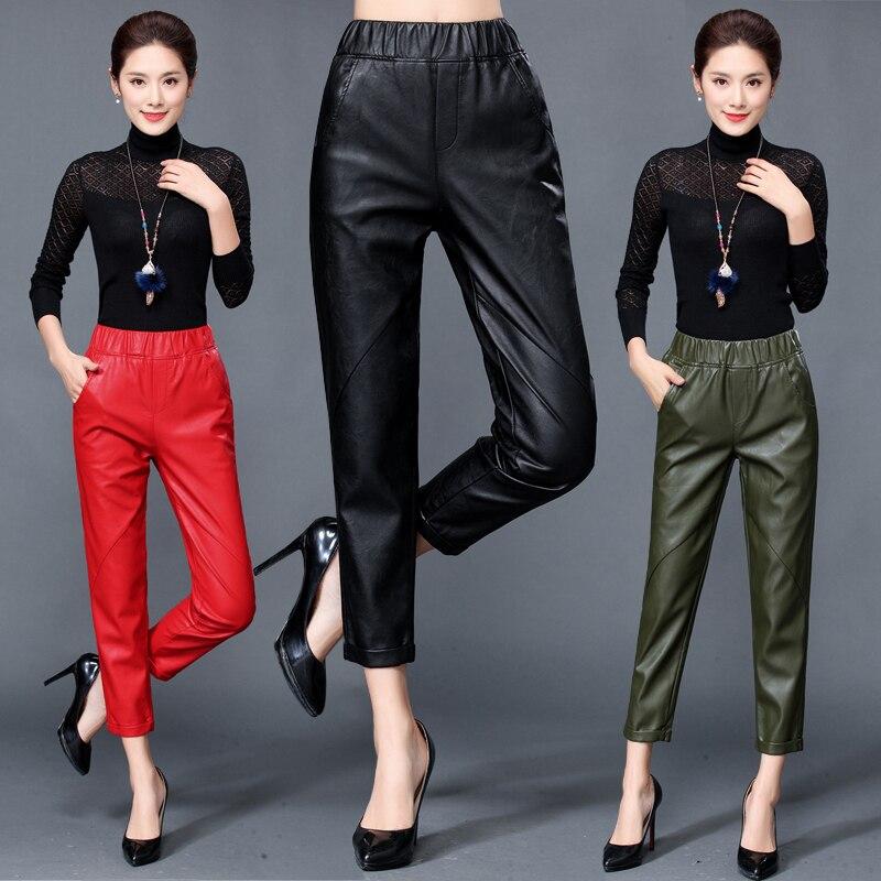 Automne Hiver Nouveau En Cuir Pantalon Femelle Taille Haute Haining Moutons Pantalon Pied Pantalon Loisirs Détendue Harlan Pantalon