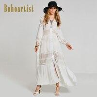 Bohemian Maxi Dress Women Elegant White Cotton Long Lantern Sleeve Dress Lady Hollow Out See Through