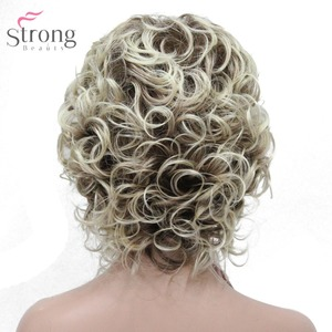Image 5 - StrongBeauty Womens Synthetic Wig Natural Hair Blonde/Black Hairpiece Short Curly Wigs