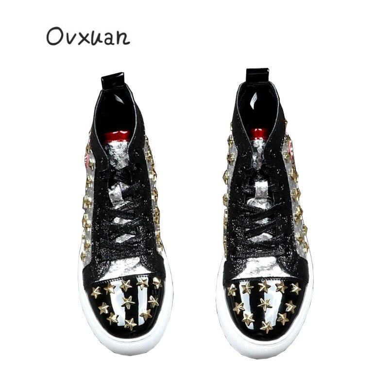 Estrelas de luxo Marca de Moda de Alta Top Sneakers Metal Ouro Rebite Cravejado sapatas dos homens Costura Apartamentos Casuais Botas atacado Dropshipping - 5