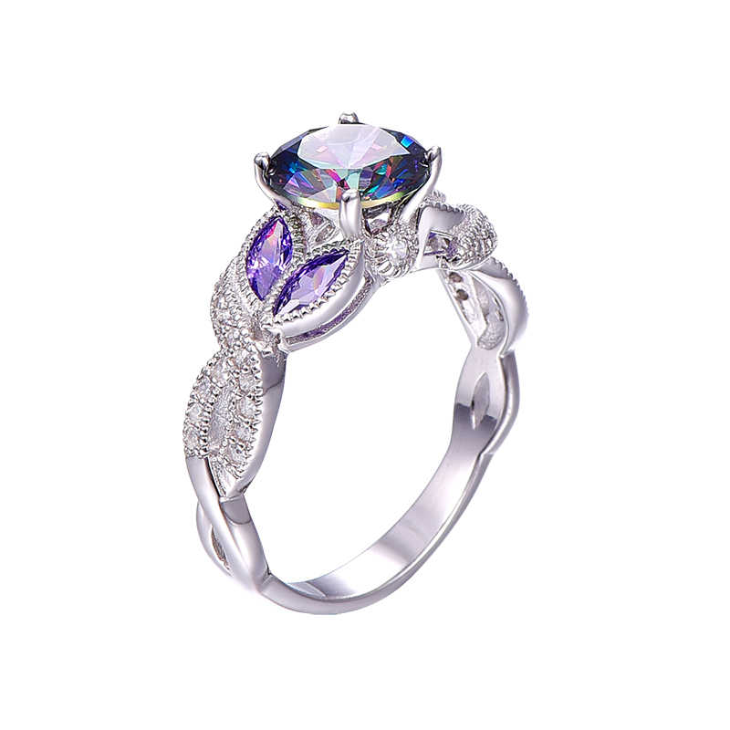 神秘的な虹トパーズ 925 スターリングシルバーリングサファイア婚約指輪クリア Cz のため女性の女性オリジナルファインジュエリー