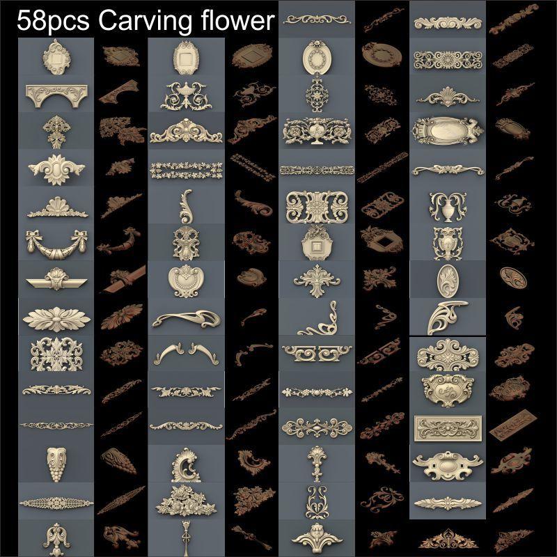 58 pçs escultura flor na porta 3d modelo stl alívio para cnc formato stl 3d modelo para cnc stl alívio artcam vectric aspire