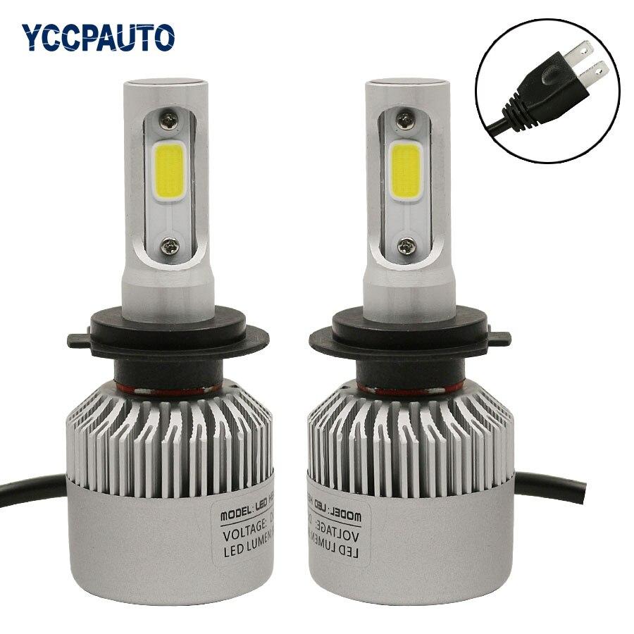 2Pcs H4 H7 H11 H8 9005 9006 COB S2 Auto Car LED Headlight 72W 8000LM High Low Beam Automobiles Lamp Xenon white 6500K DC12-24