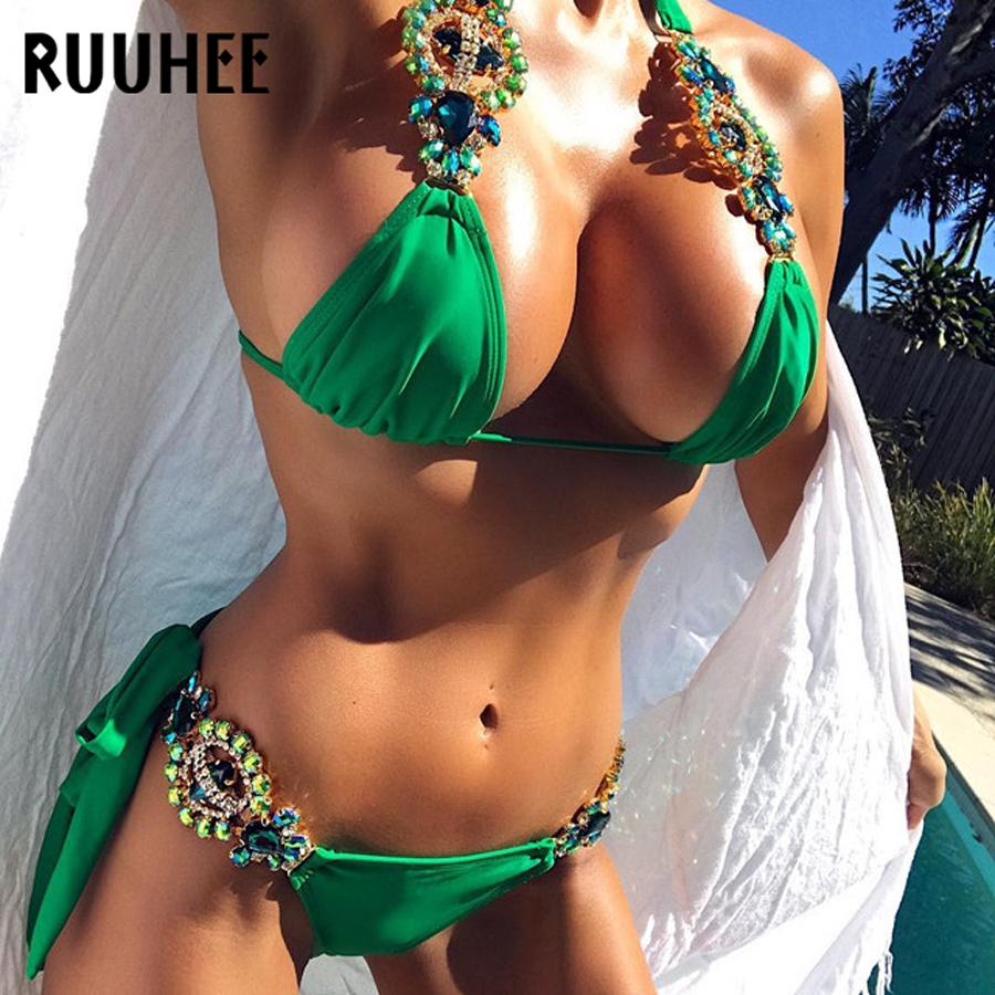 RUUHEE Bikini Swimwear Women Swimsuit Sexy Diamond Bikini Set 2018 Bathing Suit Push Up Female Beachwear Women's Swimming Suit tank heart new black white print bikini set women sexy bandage bathing suit halter lace swimsuit swimwear solid beachwear