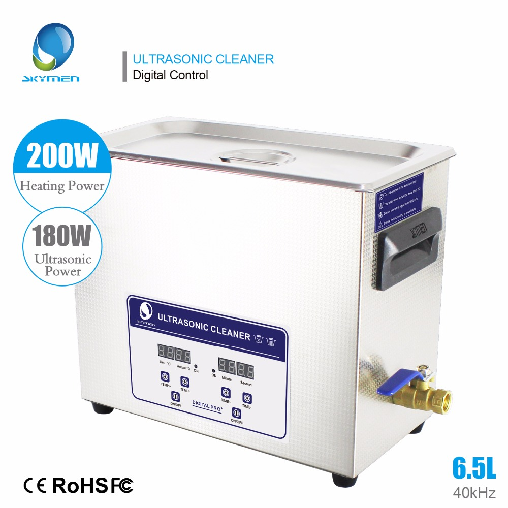 Skymen Digital Solução 6.5L 180 W Ultrasonic Cleaner Bath para o Motor de Peças de Armas de Metal de Ferro Prata PCB com Temporizador Aquecedor 110/220 V