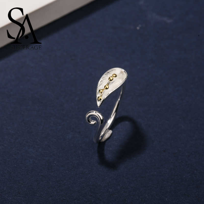 SA SILVERAGE Moment Real 925 Sterling Silver Vintage Gold Leaf Rings for Women Bijoux Natural Fashion Jewelry Adjustable Rings