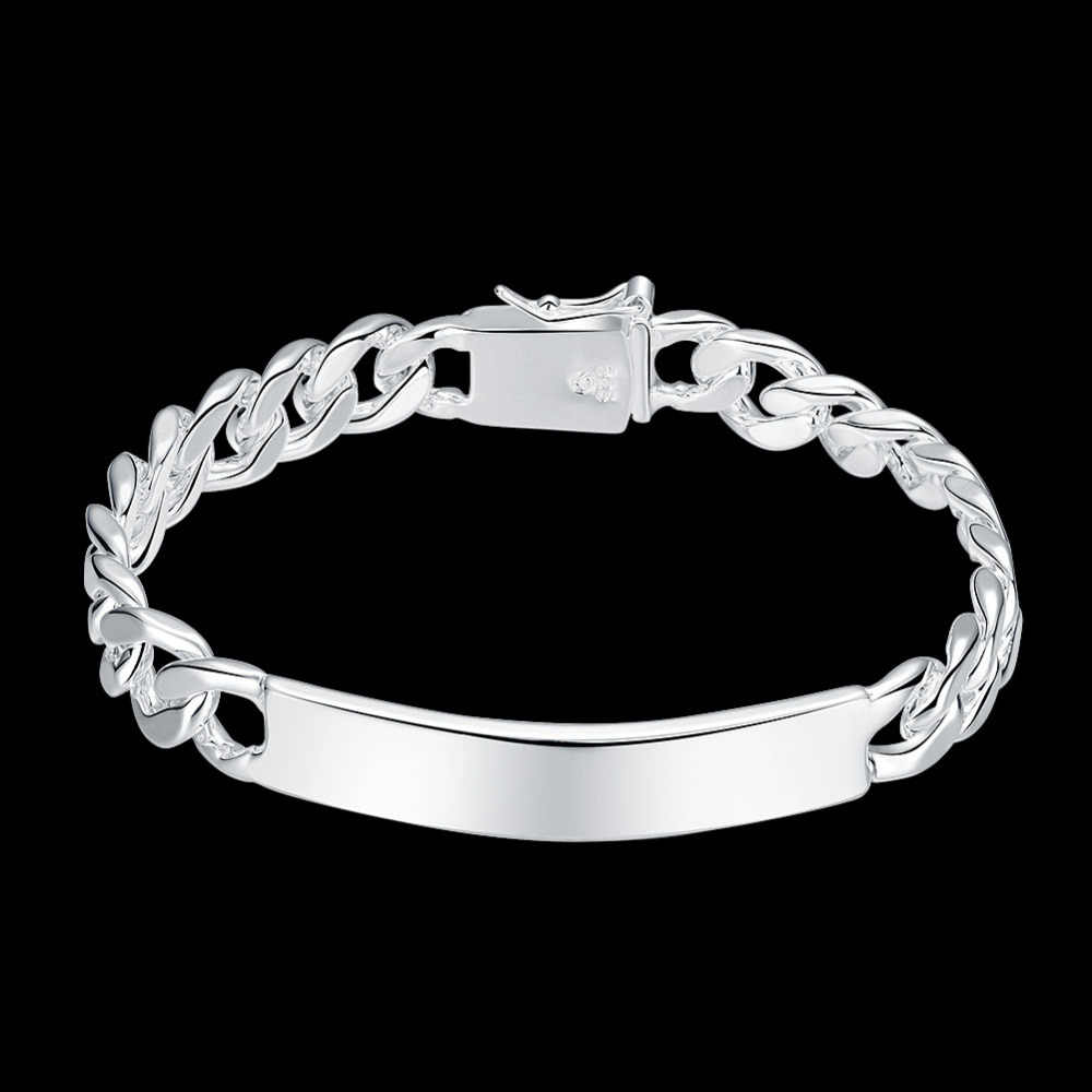 dd071ce57 ... 2019 silver cuff bracelet 925 bracelets bangles hand chain 10MM middle  long tag men jewelry bracelet ...