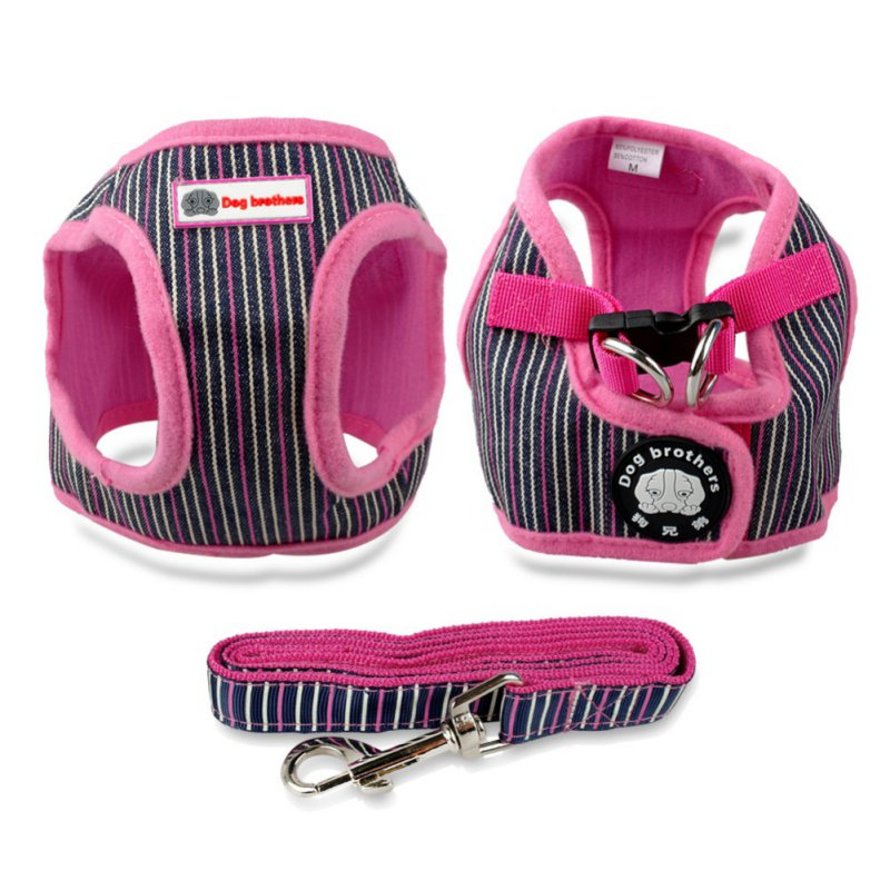 Hot Selling Soft Puppy Small Dog Harness Striped Basic Halter Harnesses Walking Leash Leads Set 4 Sizes S M L XL