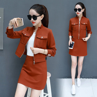 Spring new skirt suit women's clothing Korean fashion short skirts two piece clothing set lady coat top zip top vestido girl