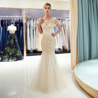 Gold and Gray Gorgeous Long Prom Gowns Beaded Cap Sleeves O Neck Evening Gowns A Line Floor Length Formal Party Womens Dresses