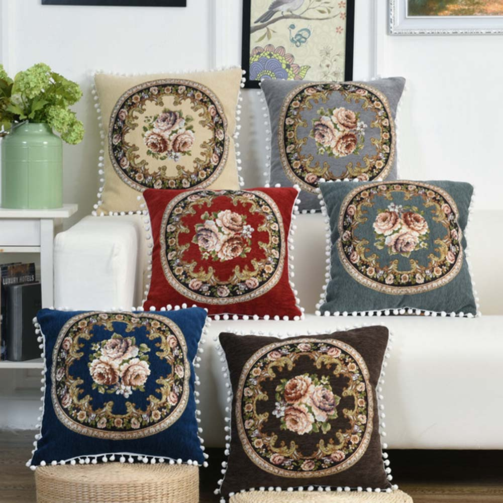 Embroidered Vintage Flowers Pillow Covers Cushion Case With Tassels Home Decor Linen Cotton Throw Pillows Chair Sofa Pillowcase