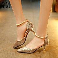 Пикантные туфли на высоком каблуке с острым носком и жемчугом; Модные женские босоножки с перфорацией; тонкие дышащие туфли с блестками; жен...