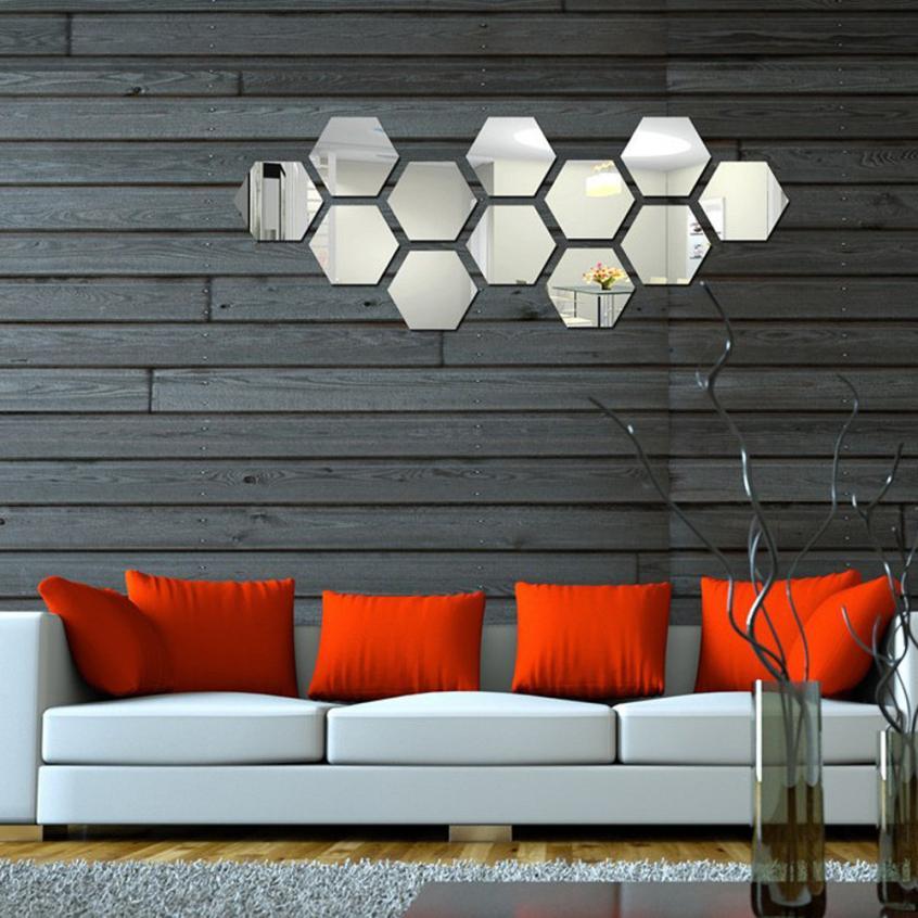 moderno unids d espejo hexagonal vinilo removible etiqueta de la pared decal decoracin para el hogar dormitorio decoracin