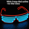 2017 Factory direct selling El Wire double light flash Shutter Shaped white eyeswear for party christmas festival EL glasses