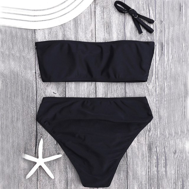 cf69b1b7f Women's Two Pieces Swimsuits Bandeau Bikini Top Sexy Cute High Waisted  Cheeky Bottom Cut Out Removable Strap Wrap Pad Swimwear