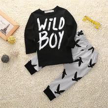 0-2Y  Newborn Toddler Kids Baby Boy Clothes Black T-shirt Tops Print Grey Pants Infant Outfits Set