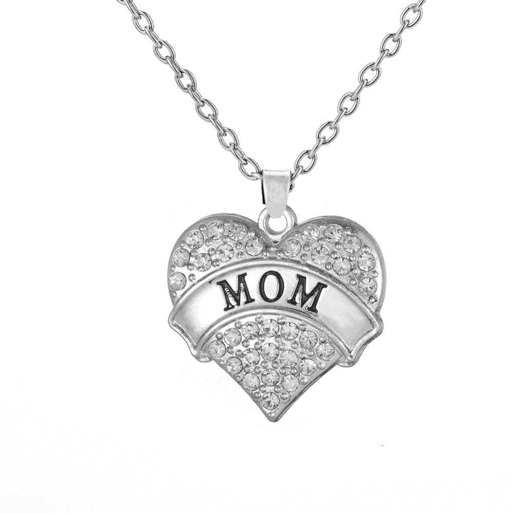 my shape All Family Member Necklace I Love You Mom Daughter Nana Aunt Niece Sister Friend Grandma Crystal Hearts Pendant