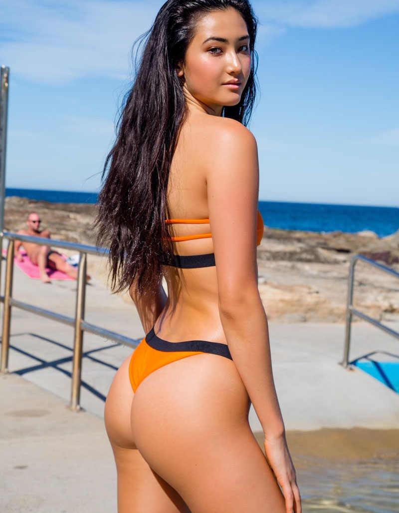 Seksi Bandeau yüksek kesim Bikini 2020 yeni kapalı omuz mayo kadınlar mayo Patchwork bikini seti Bather mayo Monokini