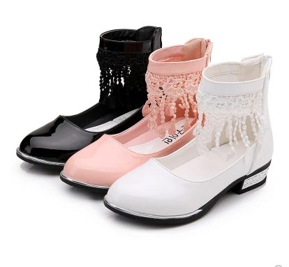 NEW kids girls shoes wedding party dress shoes for girls Flower lace Tassel girls leather Pink/black/white School Shoes