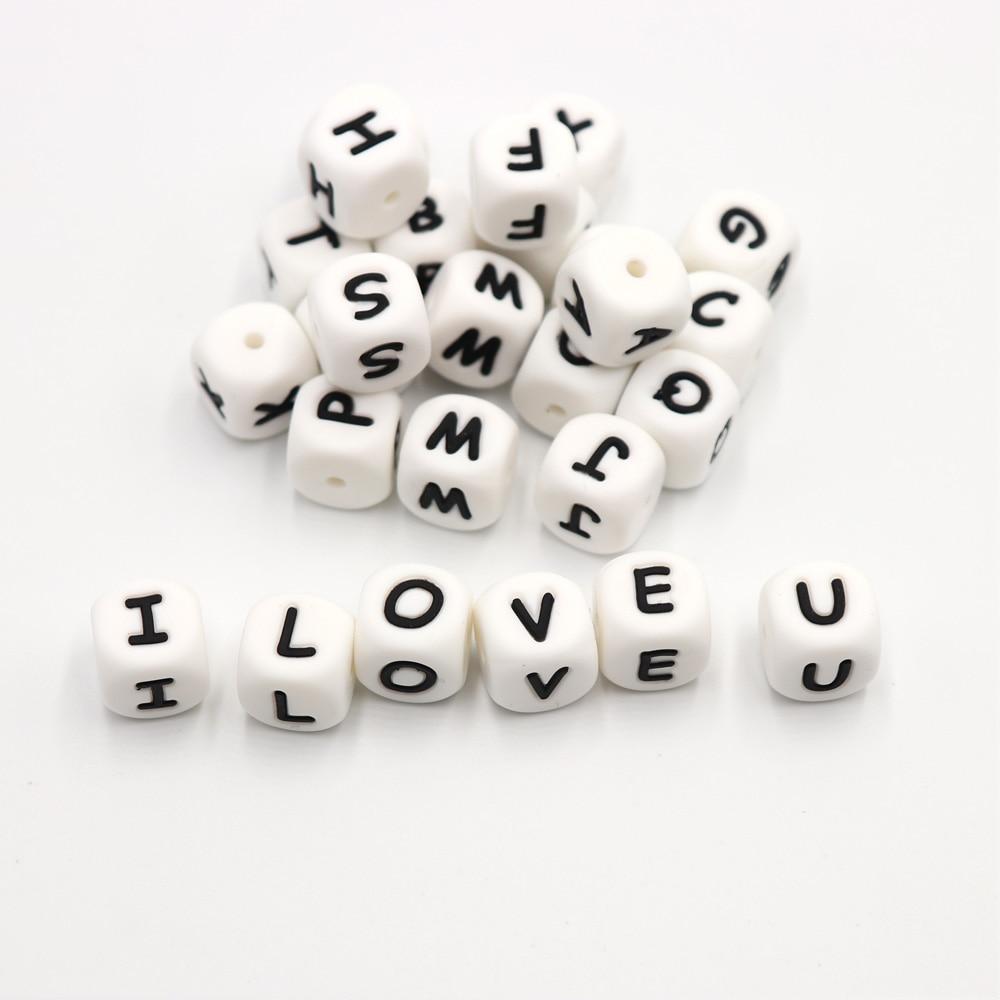 100pc επιστολή σιλικόνης Beads.BPA δωρεάν, DIY - Φροντίδα μωρού - Φωτογραφία 2