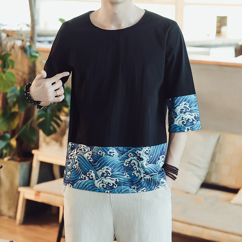 MRDONOO 2018 Chinese Style Koi Shirt Men Three Quarter Sleeve Loose Cotton Linen Shirt Male Fashion Solid Color O-Neck Tees T90