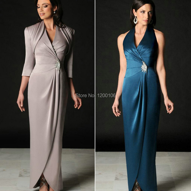 Elegante duas peças mãe dos vestidos de noiva com jaqueta de cetim tira três quartos Vestido de manga