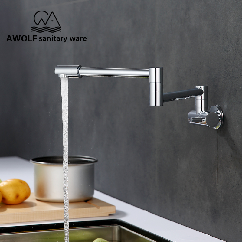 US $43.84 |Pot Filler Chrome Kitchen Sink Wall Tap 100% Solid Brass Wall  Mounted Kitchen Faucet Single Cold Swinging Spout FW001-in Kitchen Faucets  ...