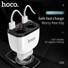 HOCO 5V 3.1A 자동차 듀얼 USB 충전기 2 차 담배 라이터 슬롯 빠른 충전 디스플레이 전압 현재 아이폰 X XS 8 7 6s