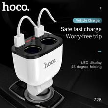 Hoco 5v 3.1a carro carregador usb duplo com 2 cigarro do carro mais leve slot de carregamento rápido display tensão atual para iphone x xs 8 7 6s