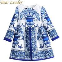 Bear Leader Girls Dress 2017New Autumn European American Style Floral Pattern Princess Dress Luxury Girl Dress