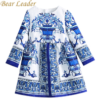 Bear Leader Girls Dress 2017New Autumn European American Style Floral Pattern Princess Dress Luxury Girl Dress