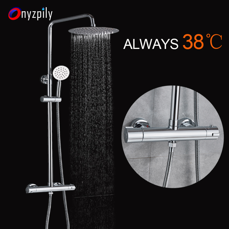Thermostatic Shower Faucets Brass Chrome 8inch Uiter-thin Bathroom Bathtub Faucet Rain Shower Head Handheld Square Mixer Tap