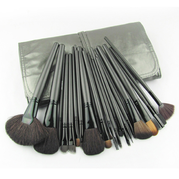 ФОТО 21 Pieces Light Black Comestic Kit Professional Makeup Accessories Brushes Tools Foundation Brush Sets & Kits High Quality