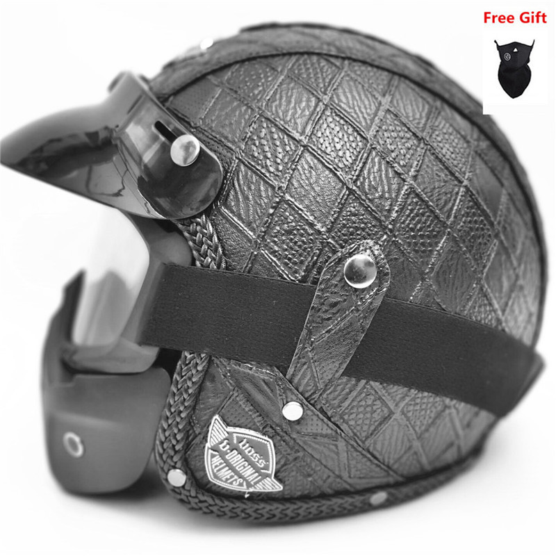 HOT SELL PU Leather Helmets 3/4 Motorcycle Chopper Bike helmet open face vintage motorcycle with goggle mask