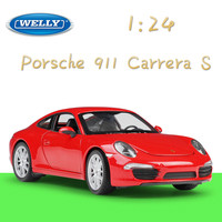 Welly 1:24 Scale Simulator Diecast Vehicle Model Car Alloy Porsch 911 Carrera S Sports Car Metal Toy Racing Car For Kid Toy Gift