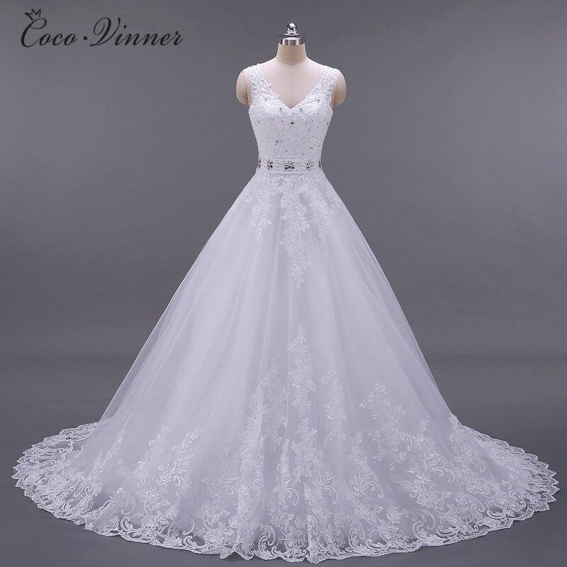C V Vestido De Noiva New Design A Line Lace Wedding Dresses 2019 V Neck Beaded