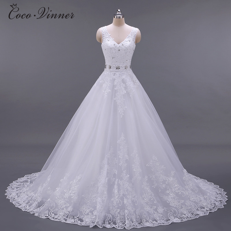 Vestido De Noiva New Design A Line Lace Wedding Dresses 2019 V Neck Beaded Sash Backless Sexy Vintage Wedding Gowns W0041-in Wedding Dresses from Weddings & Events    1